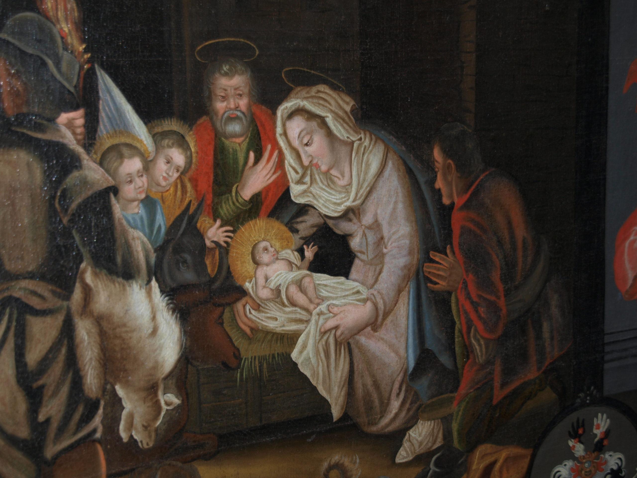 Weihnachten, Bildausschnitt aus Gemäldezyklus im Johannisgang, Stift Fischbeck